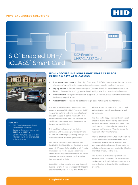 SIO Enabled UHF/iCLASS Smart Card Datasheet