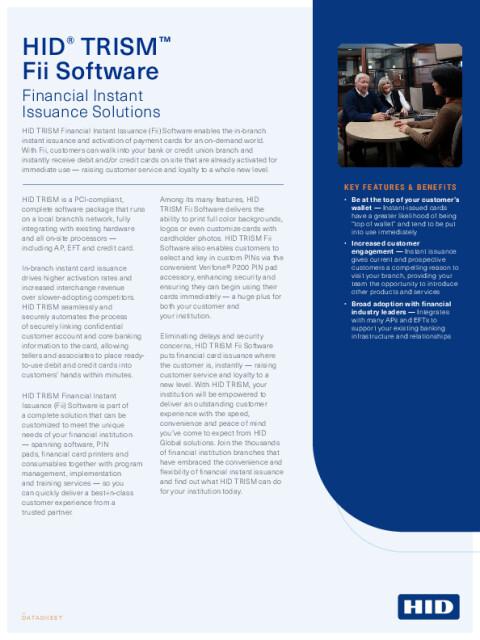 HID TRISM Fii Software Datasheet