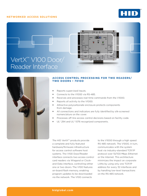 VertX V100 Door/Reader Interface Datasheet