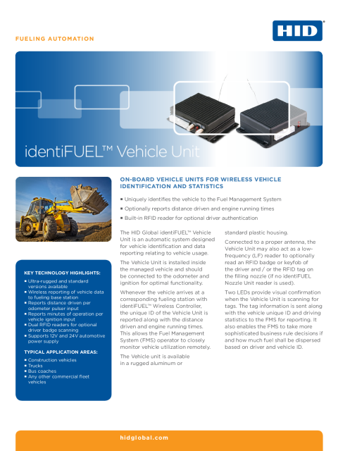 identiFUEL Vehicle Unit Datasheet
