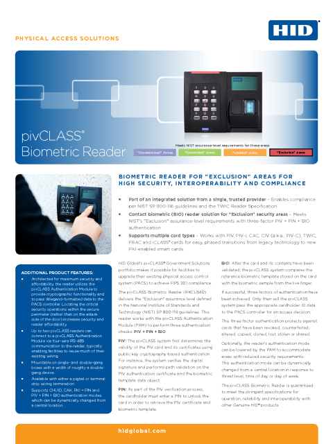 pivCLASS Biometric Reader Datasheet