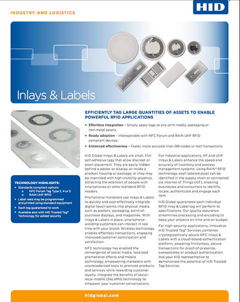 HID Inlays & Labels Datasheet