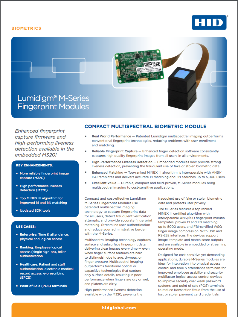 Lumidigm® M-Series Fingerprint Modules Datasheet